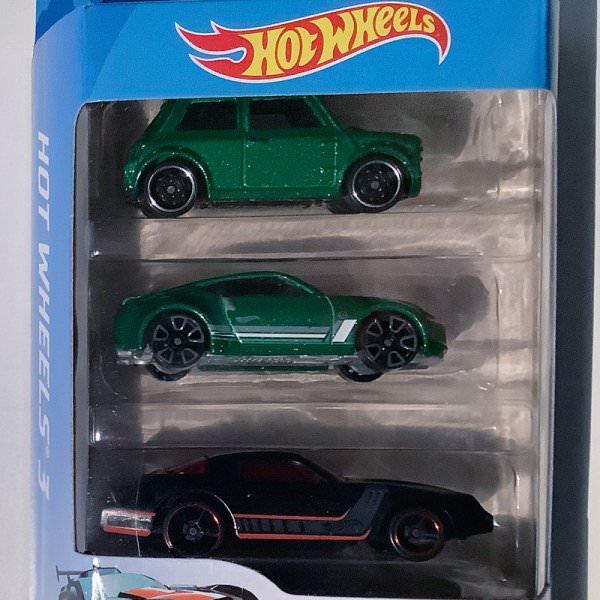 Hot Wheels   3-Pack Morris Mini grünmetallic, Nissan 370Z grünmetallic & Camaro? schwarz