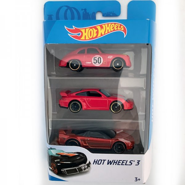 Hot Wheels | 3-Pack with red Porsche 356A Outlaw, red Porsche 911 GT2