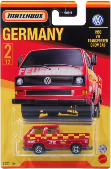 Matchbox | Best of Germany Series - 1990 VW Transporter Crew Cab FEUERWEHR Empty loading area