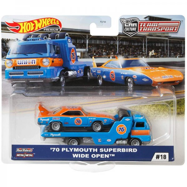 Hot Wheels | Car Culture Team Transport #18 Wide Open with 1970 Plymouth Superbird Union 76