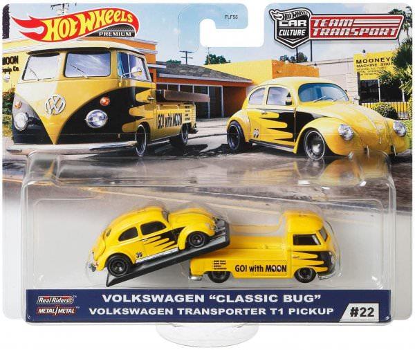 "Hot Wheels | Car Culture Team Transport #22 Volkswagen ""Classic Bug"" & Volkswagen Transporter T1 Pickup Moon Eyes"