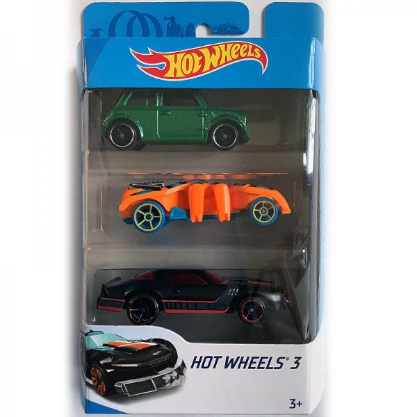 Hot Wheels | 3-Pack Morris Mini green metallic, Speed Spider orange & black Camaro?