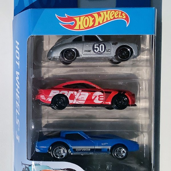 Hot Wheels | 3-Pack mit silbernen Porsche 356A, Mustang GT & Corvette Stingray
