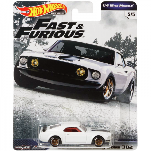 Hot Wheels | Fast & Furious ¼ Mile Muscle 1969 Ford Mustang Boss 302 white