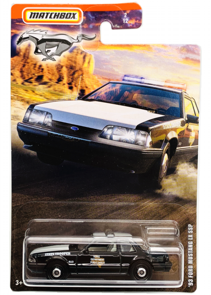 Matchbox | Mustang Serie 1 #2/12 '93 Ford Mustang LX SSP Texas State Trooper black
