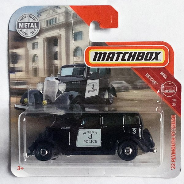 Matchbox | '33 Plymouth PC Sedan Police schwarz