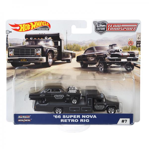 """Hot Wheels   Car Culture Team Transport #7 1966 Super Nova Retro Rig """"Black Hole Racing"""""""