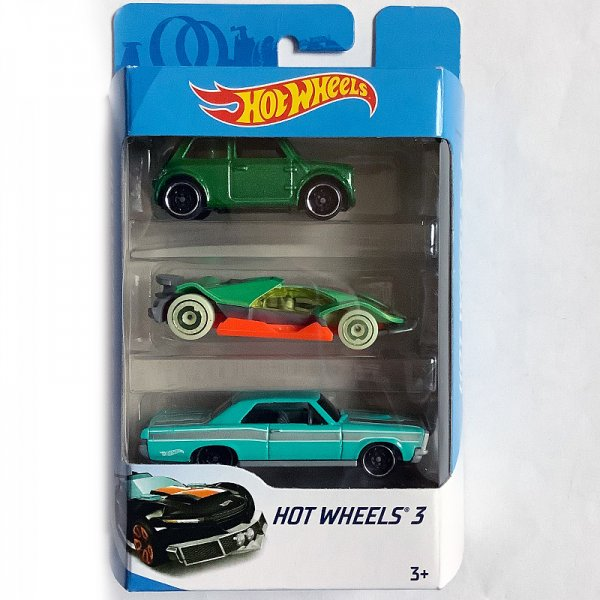 Hot Wheels | 3-Pack Morris Mini green metallic, CYBER SPEEDER™ green/orange, 65 Pontiac GTO turquoise