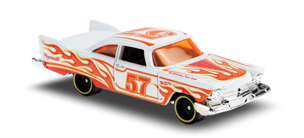 Hot Wheels | '57 Plymouth Fury weiß mit Flammen