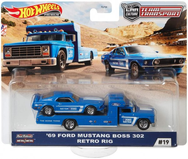 Hot Wheels | Car Culture Team Transport #19 '69 Ford Mustang Boss 302 & Retro Rig Ford Race Team blue