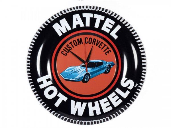 Auto World | Hot Wheels Button Blechwanduhr Custom Corvette