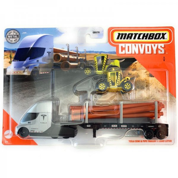 Matchbox | Convoys Tesla Semi with Pipe Trailer and Load Lifter