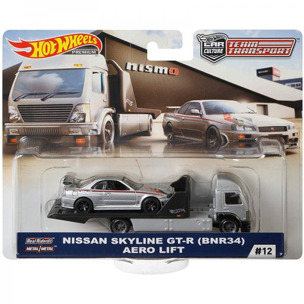 Hot Wheels | Car Culture Team Transport #12 Nissan Skyline GT-R (BNR34) & Aero Lift